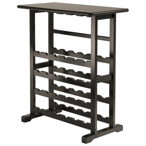 FastFurnishings Floor-Standing Dark Espresso Brown 24-Bottle Wine Rack