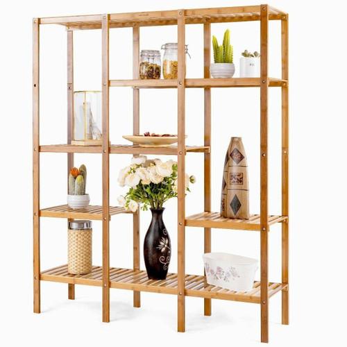 FastFurnishings Eco-Friendly Bamboo 4-Shelf Bookcase Storage Rack