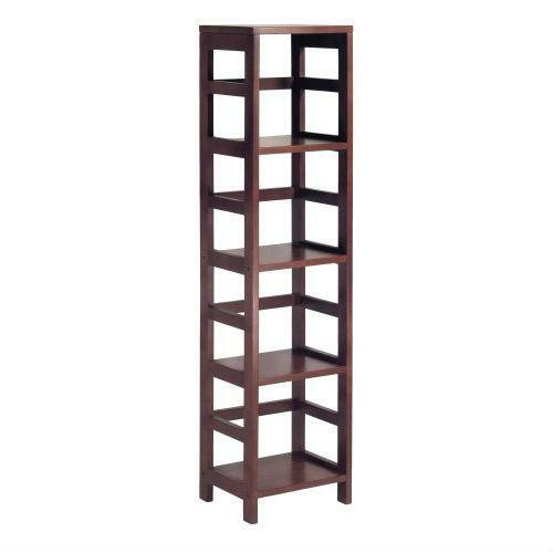 FastFurnishings 4-Shelf Narrow Shelving Unit Bookcase Tower in Espresso