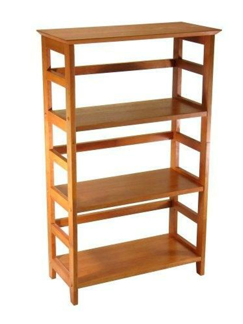 FastFurnishings 4-Tier Book-shelf Wood Bookcase in Honey Finish