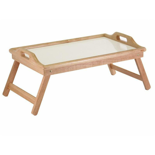 FastFurnishings Breakfast in Bed Tray Table with Handles and Foldable Legs