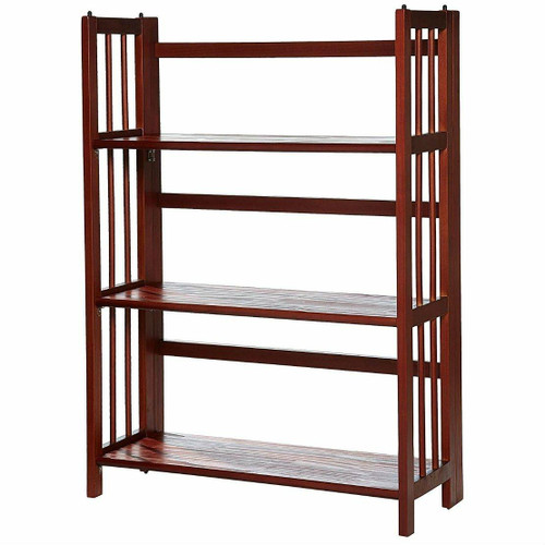 FastFurnishings 3-Shelf Folding Storage Shelves Bookcase in Walnut Wood Finish