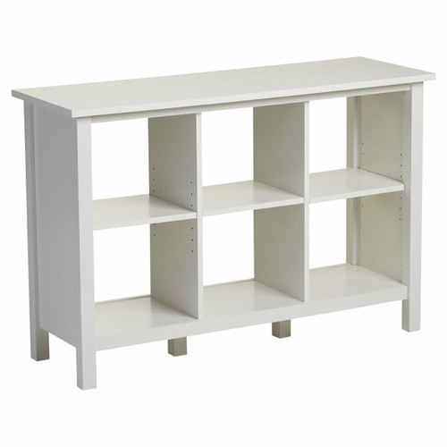 FastFurnishings Adjustable Shelf 6-Cube Bookcase Storage Unit Sideboard in White