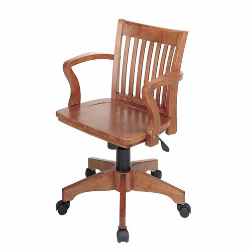 FastFurnishings Classic Wooden Bankers Chair with Wood Seat and Arms