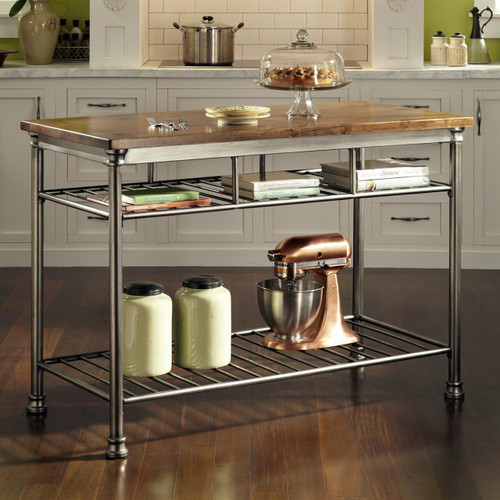 FastFurnishings Classic French Style Hardwood Butcher Block Top Metal Kitchen Utility Table