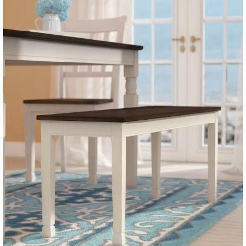 FastFurnishings Kitchen Seating Wooden Bench in White and Brown Finish