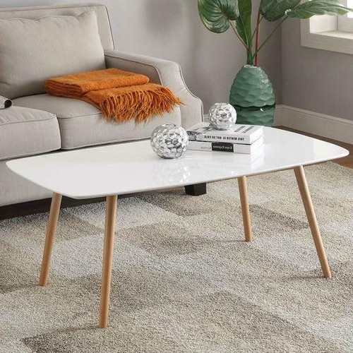 FastFurnishings White Top Mid-Century Coffee Table with Solid Wood Legs