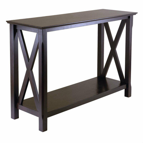 FastFurnishings Cappuccino Brown Wood Console Sofa Table with Bottom Shelf