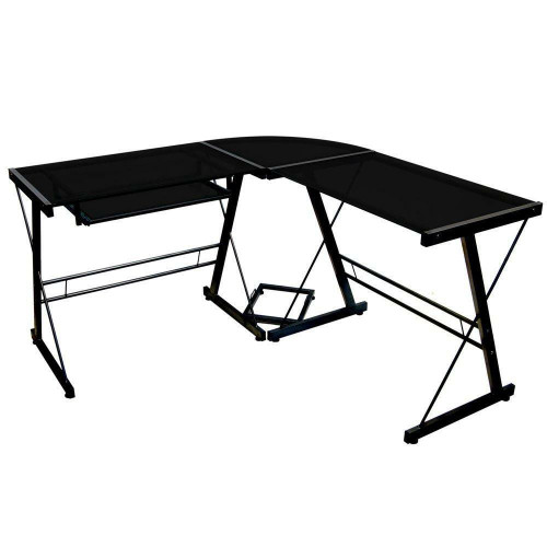 FastFurnishings Black Metal and Glass Corner L-Shaped Computer Desk