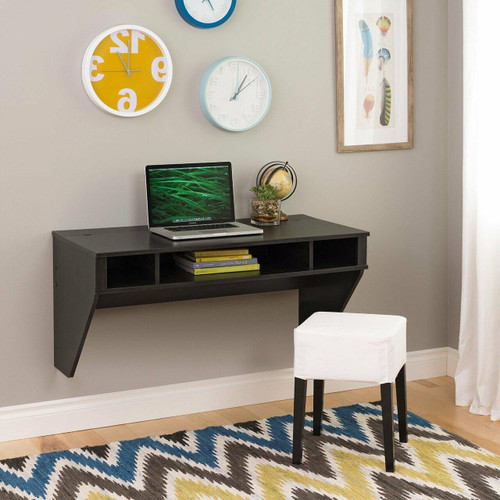 FastFurnishings Contemporary Space Saver Floating Style Laptop Desk in Ebony