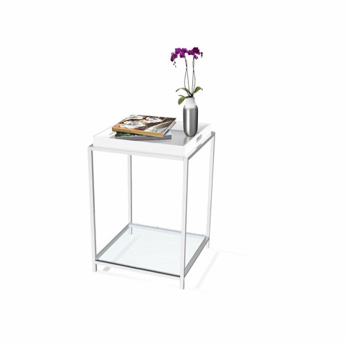FastFurnishings Modern Classic Metal End Table with White Removable Tray