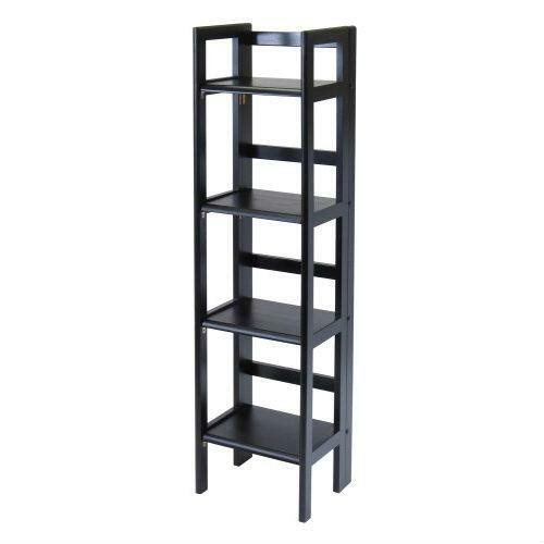 FastFurnishings Black 4-Tier Shelf Folding Shelving Unit Bookcase Storage Shelves Tower