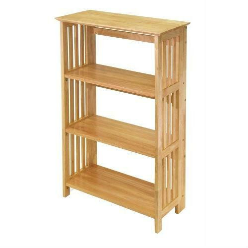 FastFurnishings 4-Shelf Wooden Folding Bookcase Storage Shelves in Natural Finish