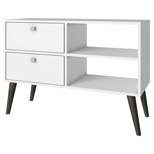 FastFurnishings White Grey Wood Modern Classic Mid-Century Style TV Stand Entertainment Center