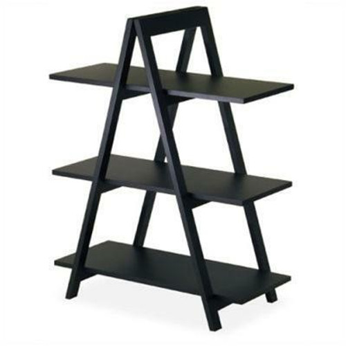 FastFurnishings Modern 3-Tier A-Frame Display Shelf Bookcase in Black
