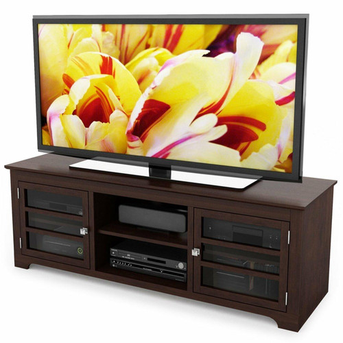 FastFurnishings Dark Espresso TV Stand with Glass Doors - Fits up to 68-inch TV