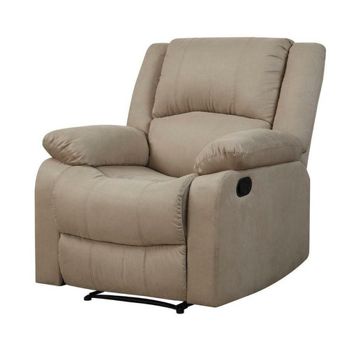 FastFurnishings Beige Microfiber Upholstered Recliner Chair