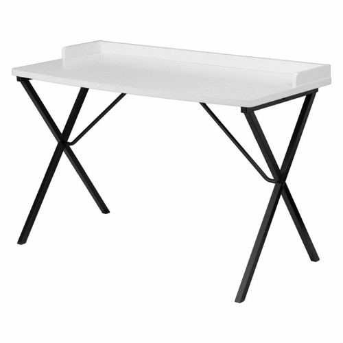 FastFurnishings White Top Modern Student Teen Adult Writing Table Computer Desk