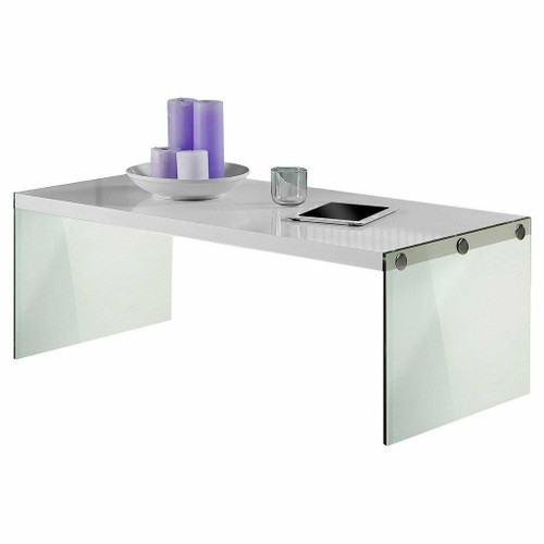 FastFurnishings White Modern Rectangular Coffee Table with Tempered Glass Legs