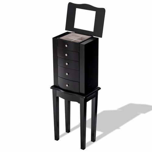 FastFurnishings Black Wood 5-Drawer Jewelry Chest Storage Chest Cabinet with Mirror