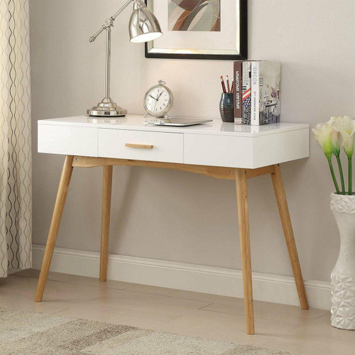 FastFurnishings Modern Laptop Writing Desk in White with Natural Mid-Century Style Legs