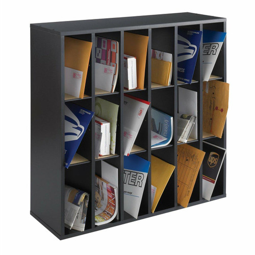 FastFurnishings Wood 18 Compartment Mail Sorter Letter Holder Organizer in Black