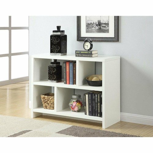FastFurnishings White 2-Shelf Modern Bookcase Console Table