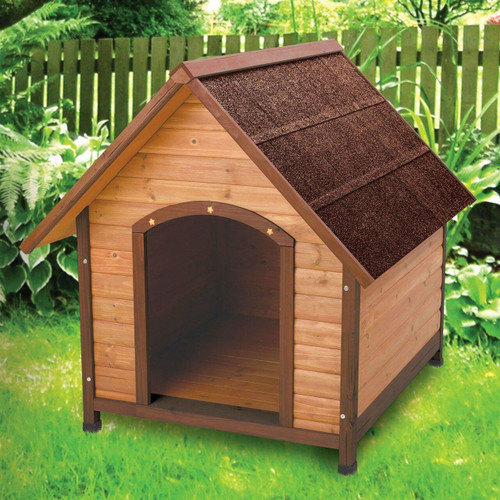 FastFurnishings Medium 30-inch Solid Wood Dog House with Waterproof Shingle Roof