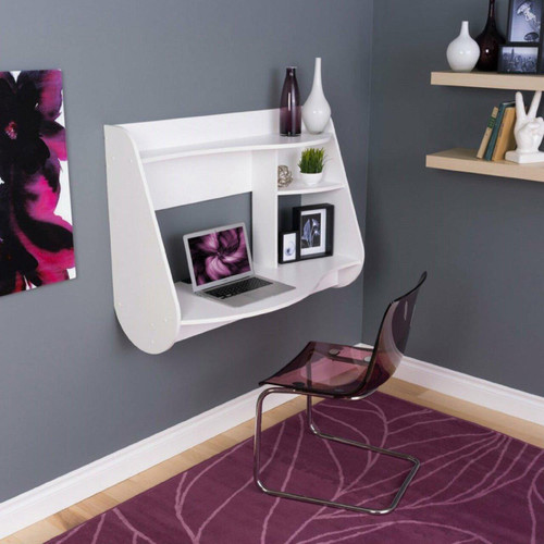 FastFurnishings Modern Wall-Mount Laptop Computer Desk in White