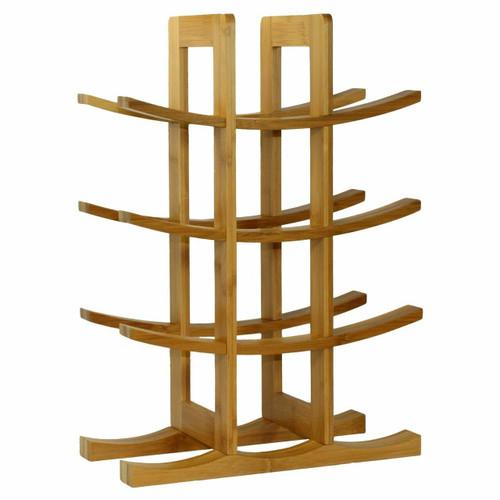 FastFurnishings 12-Bottle Wine Rack Modern Asian Style in Natural Bamboo