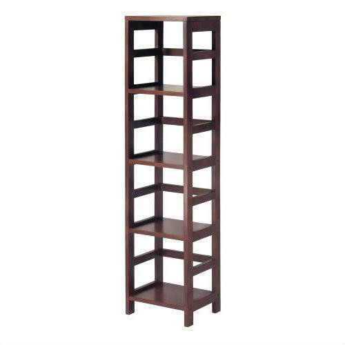 FastFurnishings Narrow 4-Shelf Contemporary Shelving Unit in Espresso Wood Finish