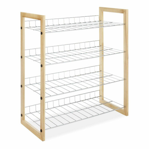 FastFurnishings 4-Shelf Closet Shoe Rack with Natural Wood Frame and Chrome Wire Shelves