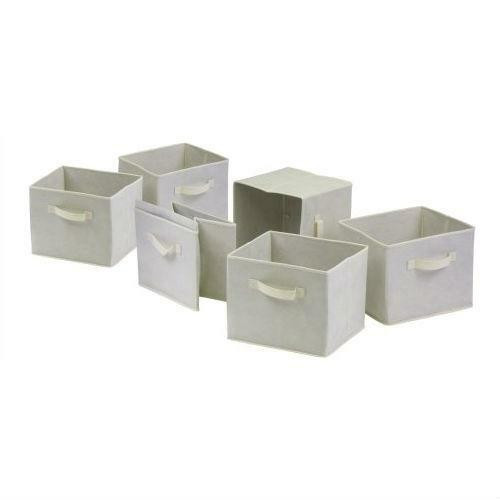 FastFurnishings Set of 6 Foldable Fabric Storage Baskets in Beige