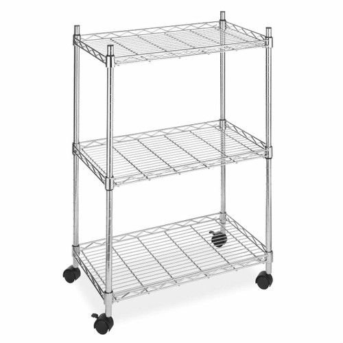 FastFurnishings 3-Tier Metal Cart on Wheels for Kitchen Microwave Bathroom Garage
