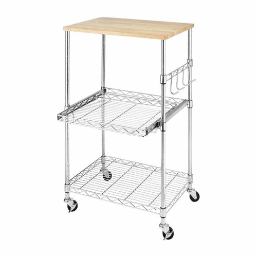 FastFurnishings Sturdy Metal Kitchen Microwave Cart with Adjustable Shelves and Locking Wheels