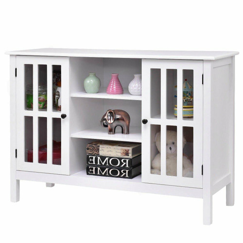FastFurnishings White Wood Sofa Table Console Cabinet with Tempered Glass Panel Doors
