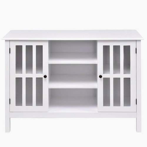FastFurnishings White Wood 43-inch TV Stand with Glass Panel Doors