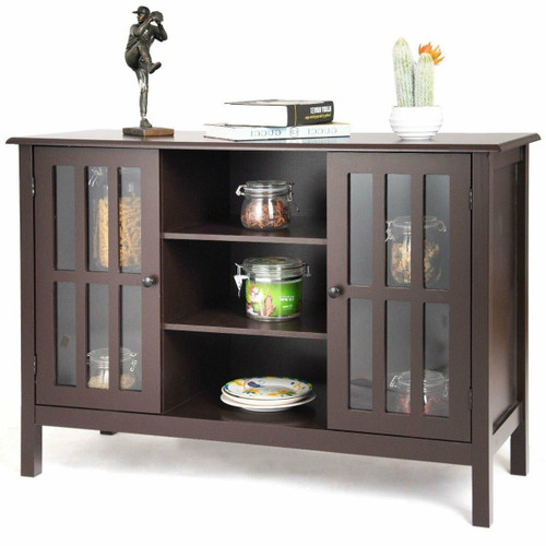 FastFurnishings Brown Wood Sofa Tale Console Cabinet with Tempered Glass Panel Doors