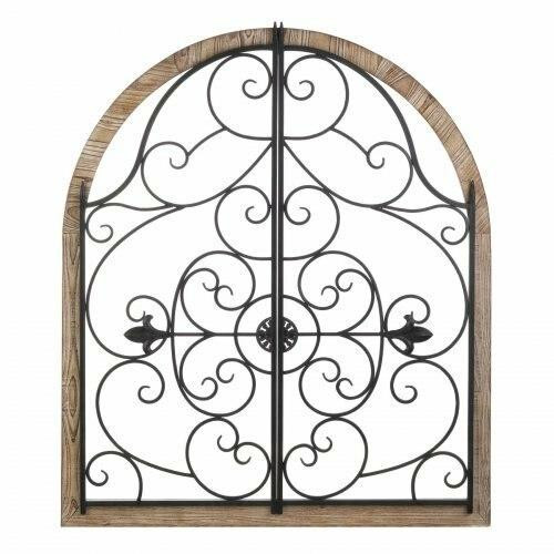 Accent Plus Arched Wood And Iron Wall Dcor