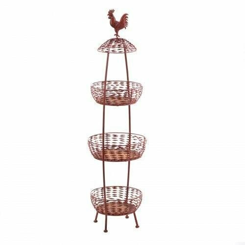Accent Plus Red Rooster 3 Tier Baskets