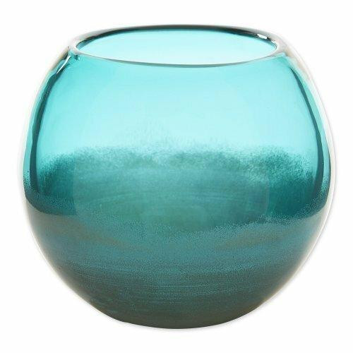 Accent Plus Small Aqua Fish Bowl Vase