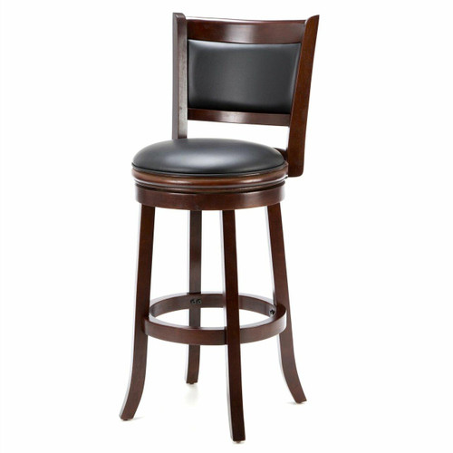 FastFurnishings Cherry 29-inch Solid Wood Bar Stool with Faux Leather Swivel Seat