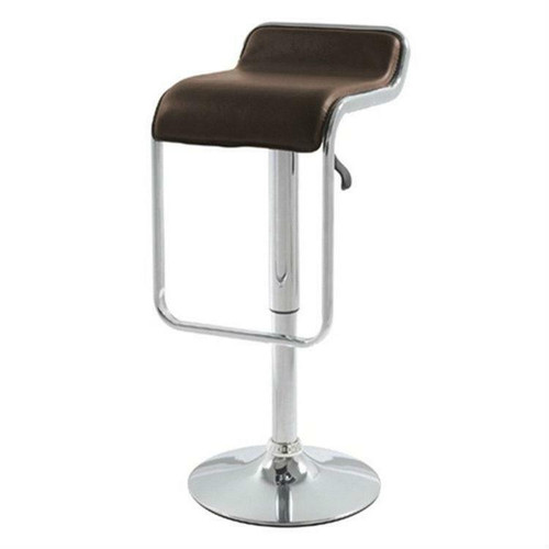 FastFurnishings Modern Swivel Adjustable Height Bar Stool with Brown Leatherette Seat