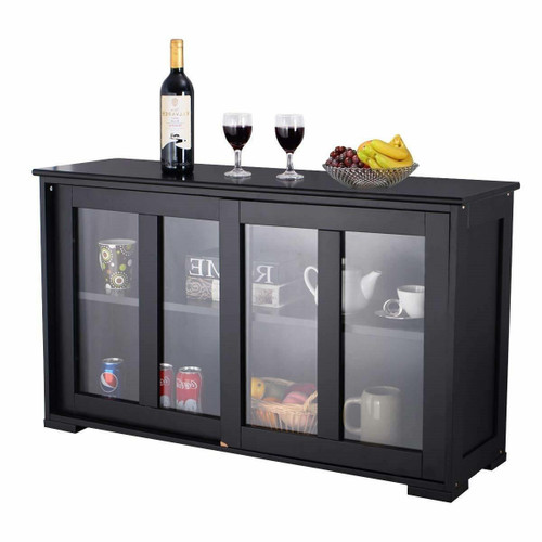 FastFurnishings Black Sideboard Buffet Dining Storage Cabinet with 2 Glass Sliding Doors
