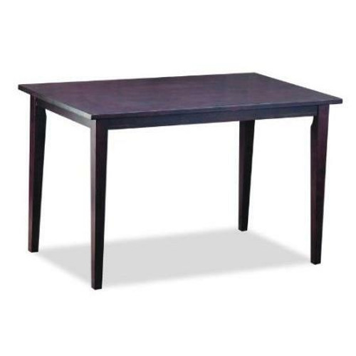 FastFurnishings Solid Rubberwood Dining Table in Dark Brown Stain Veneer Finish