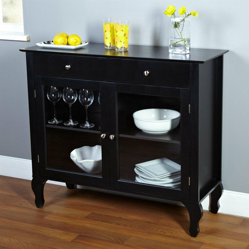 FastFurnishings Black Dining Room Buffet Sideboard Server Cabinet with Glass Doors