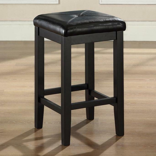 FastFurnishings Set of 2 - Black 24-inch Backless Barstools with Faux Leather Seat