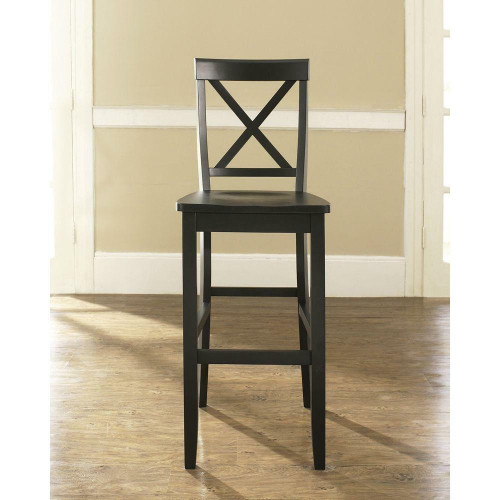 FastFurnishings Set of 2 - X-Back Solid Wood 30-inch Barstools in Black Finish