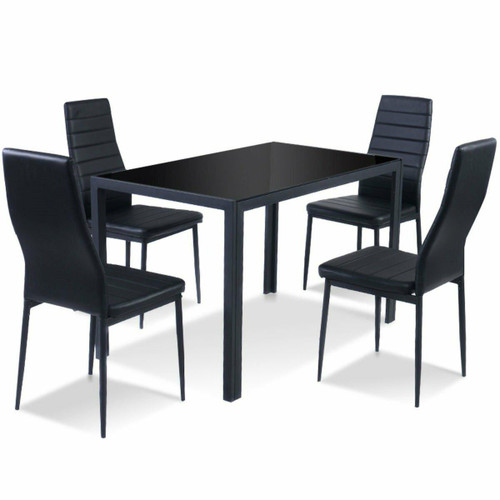 FastFurnishings 5 Piece Black Glass Tabletop Dining Set With Soft Leather Chairs