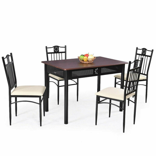 FastFurnishings 5-Piece Black Brown Dining Set Wood Metal Table Chairs with Cushions